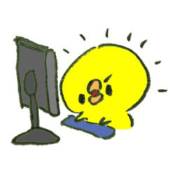 ゲームブログを書くヒヨコ